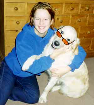Au Pair Dog Carers Golden Retriever Magic posing in sunglasses with Marie