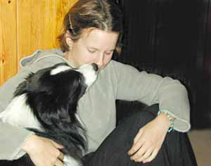 Border Collies: Scrumpy kissing Marie - nicely